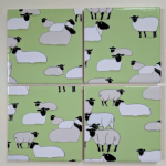4 Ceramic Coasters in Emily Burningham Sheep